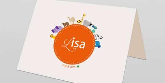 Geboortekaart met de naam Lisa er op